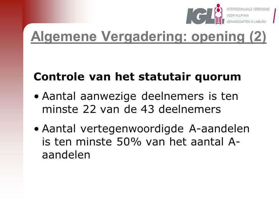 Algemene Vergadering: opening (2)