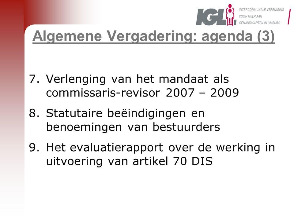 Algemene Vergadering: agenda (3)