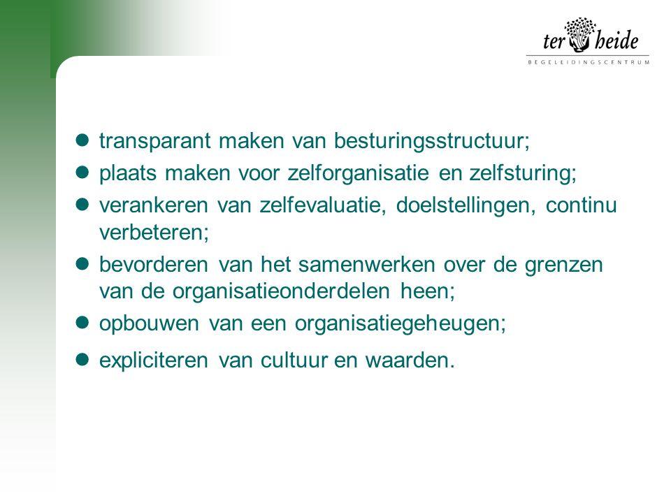 transparant maken van besturingsstructuur;