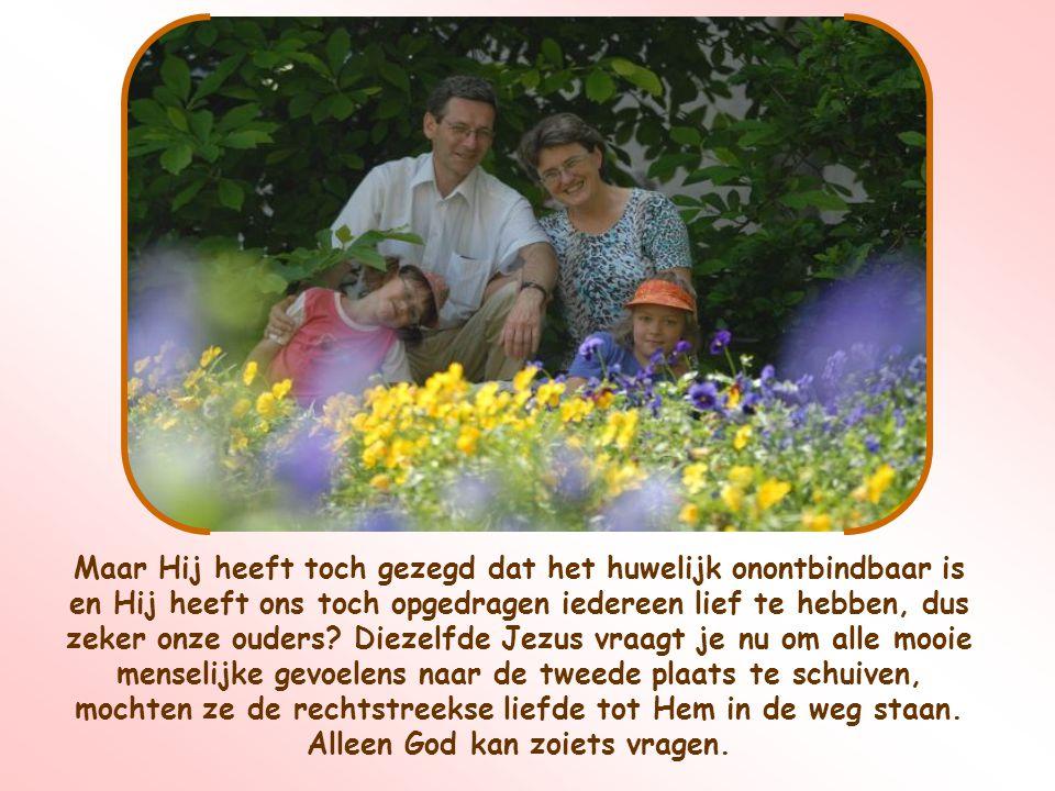 Maar Hij heeft toch gezegd dat het huwelijk onontbindbaar is en Hij heeft ons toch opgedragen iedereen lief te hebben, dus zeker onze ouders.
