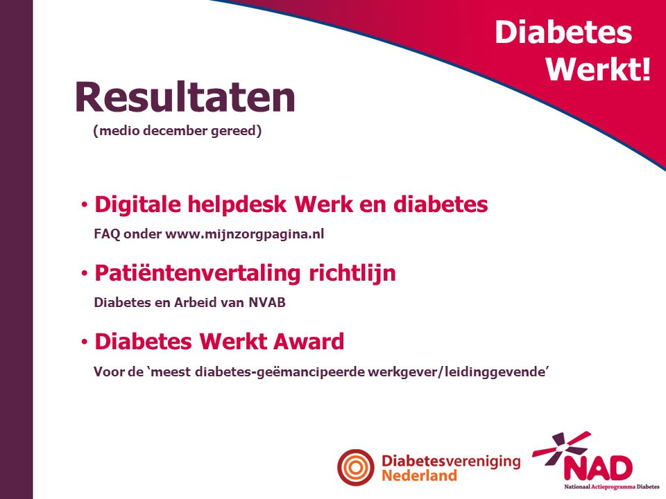 Resultaten Diabetes Werkt! Digitale helpdesk Werk en diabetes