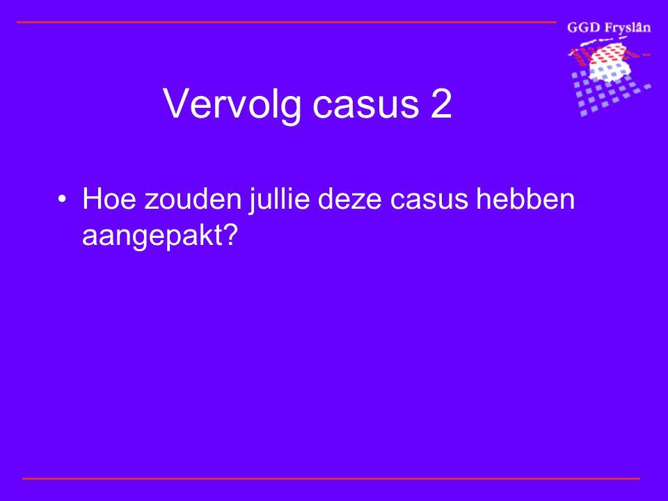 Vervolg casus 2 Hoe zouden jullie deze casus hebben aangepakt