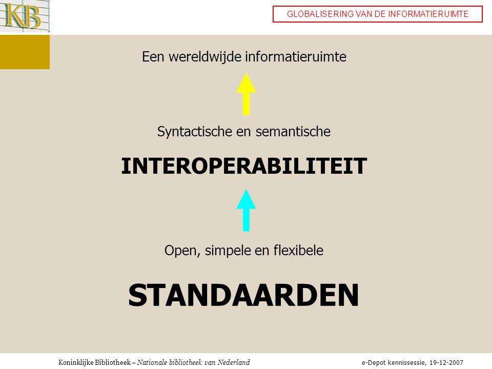 STANDAARDEN INTEROPERABILITEIT Een wereldwijde informatieruimte