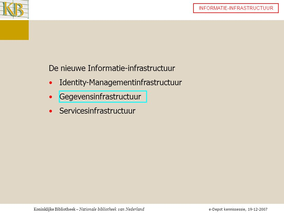 De nieuwe Informatie-infrastructuur Identity-Managementinfrastructuur
