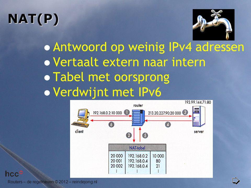NAT(P) Antwoord op weinig IPv4 adressen. Vertaalt extern naar intern.