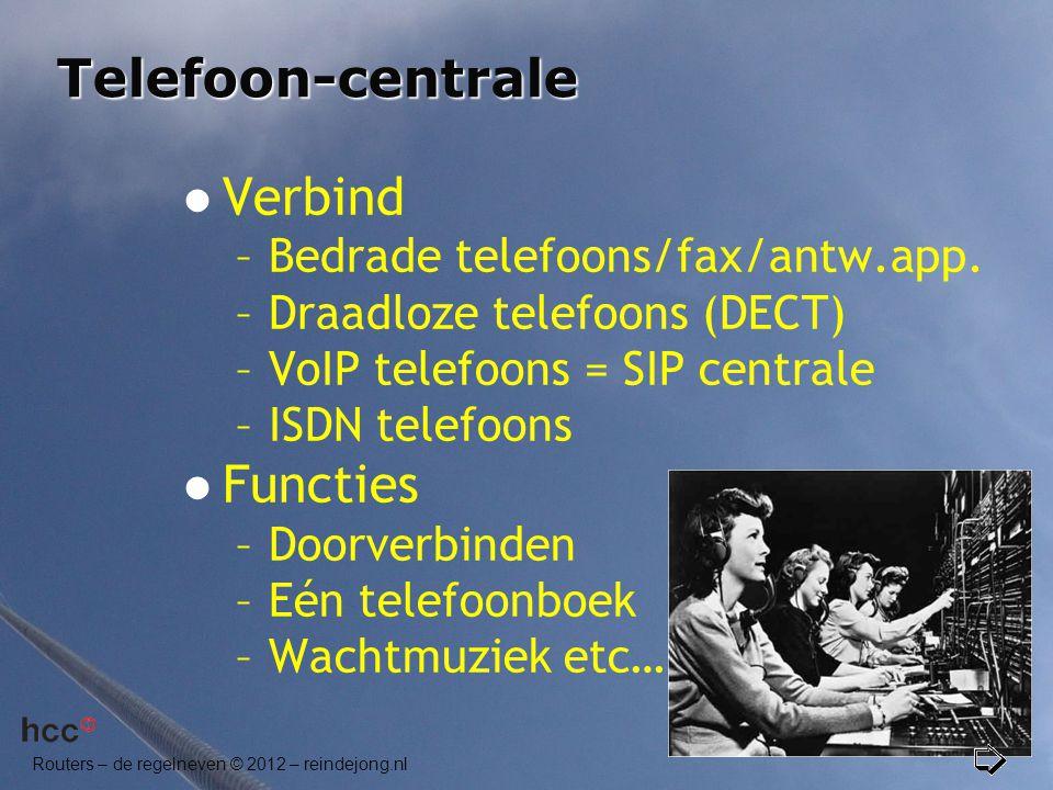 Telefoon-centrale Verbind Functies Bedrade telefoons/fax/antw.app.