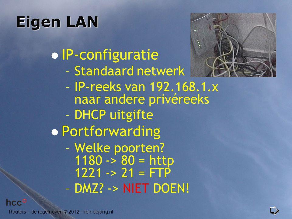 Eigen LAN IP-configuratie Portforwarding Standaard netwerk