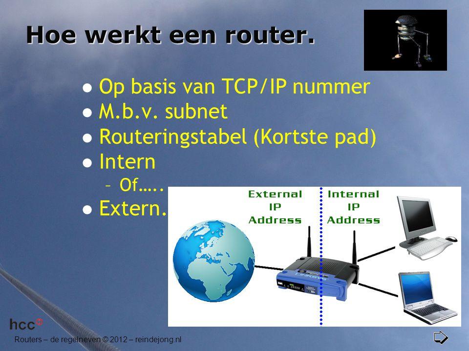 Hoe werkt een router. Op basis van TCP/IP nummer M.b.v. subnet