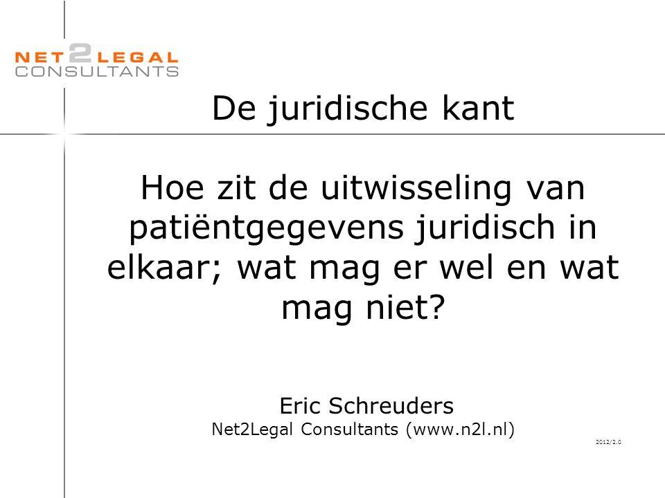 De juridische kant Hoe zit de uitwisseling van patiëntgegevens juridisch in elkaar; wat mag er wel en wat mag niet.