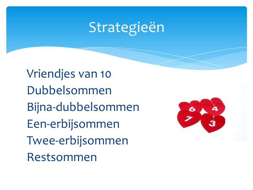 Strategieën Vriendjes van 10 Dubbelsommen Bijna-dubbelsommen Een-erbijsommen Twee-erbijsommen Restsommen