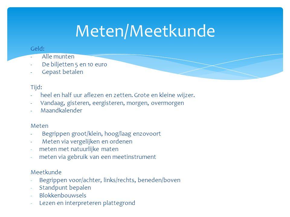 Meten/Meetkunde Geld: - Alle munten - De biljetten 5 en 10 euro