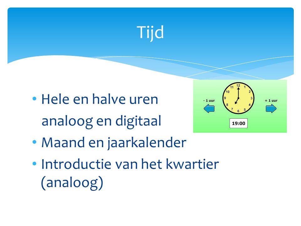 Tijd Hele en halve uren analoog en digitaal Maand en jaarkalender