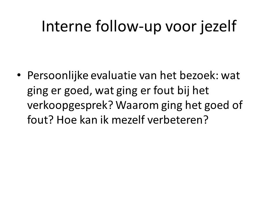 Interne follow-up voor jezelf