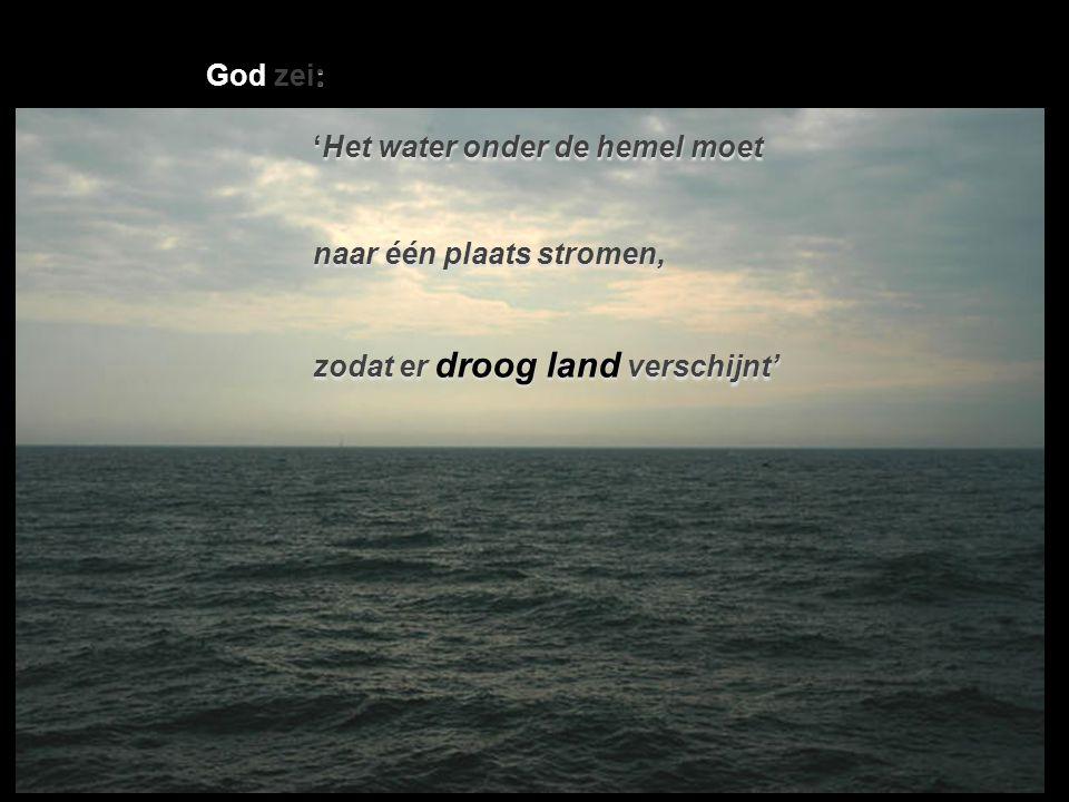 God zei: 'Het water onder de hemel moet naar één plaats stromen, zodat er droog land verschijnt'