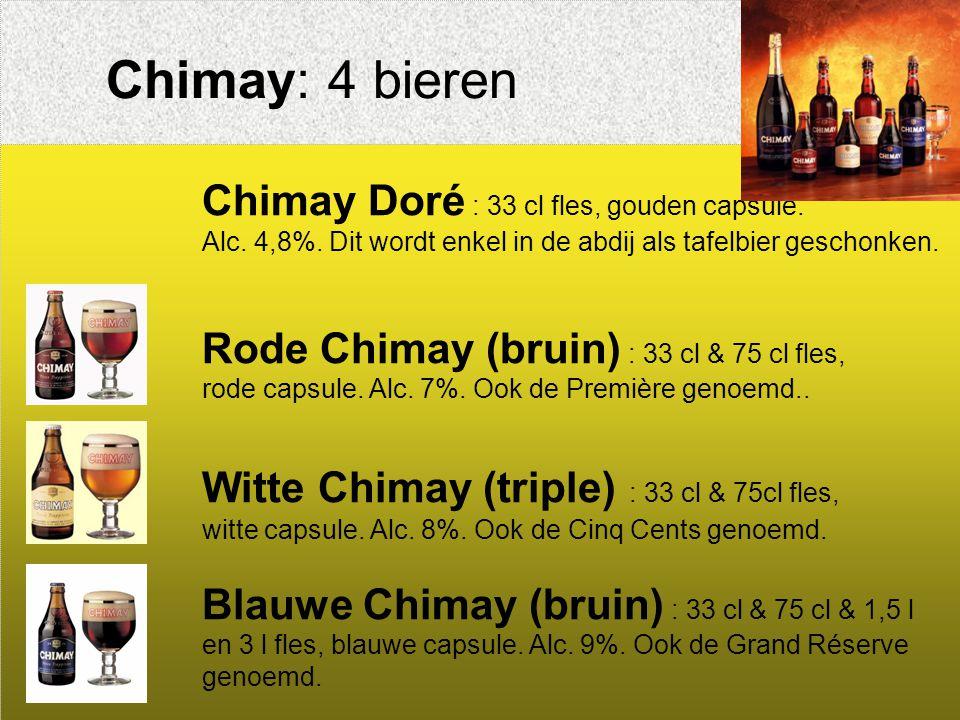 Chimay: 4 bieren Chimay Doré : 33 cl fles, gouden capsule.