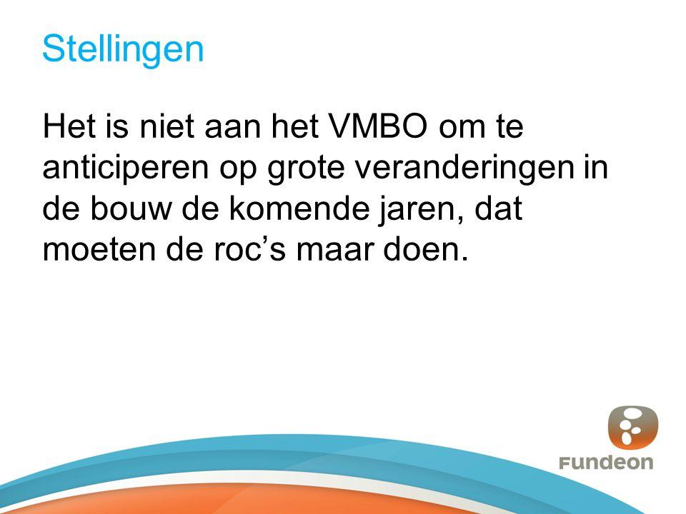 Stellingen Het is niet aan het VMBO om te anticiperen op grote veranderingen in de bouw de komende jaren, dat moeten de roc's maar doen.