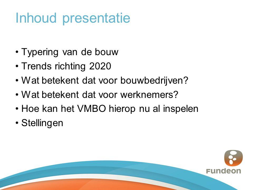 Inhoud presentatie Typering van de bouw Trends richting 2020