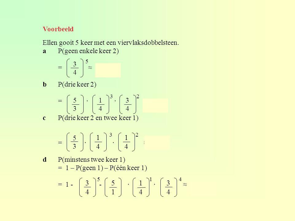 Voorbeeld Ellen gooit 5 keer met een viervlaksdobbelsteen. a P(geen enkele keer 2) = ≈ 0,237.