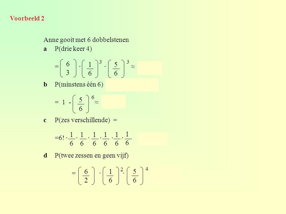Voorbeeld 2 Anne gooit met 6 dobbelstenen. a P(drie keer 4) = · · ≈ 0,054.