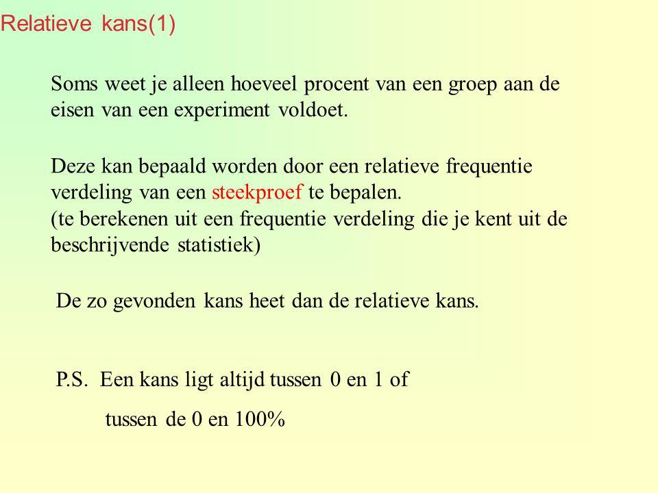 Relatieve kans(1) Soms weet je alleen hoeveel procent van een groep aan de eisen van een experiment voldoet.