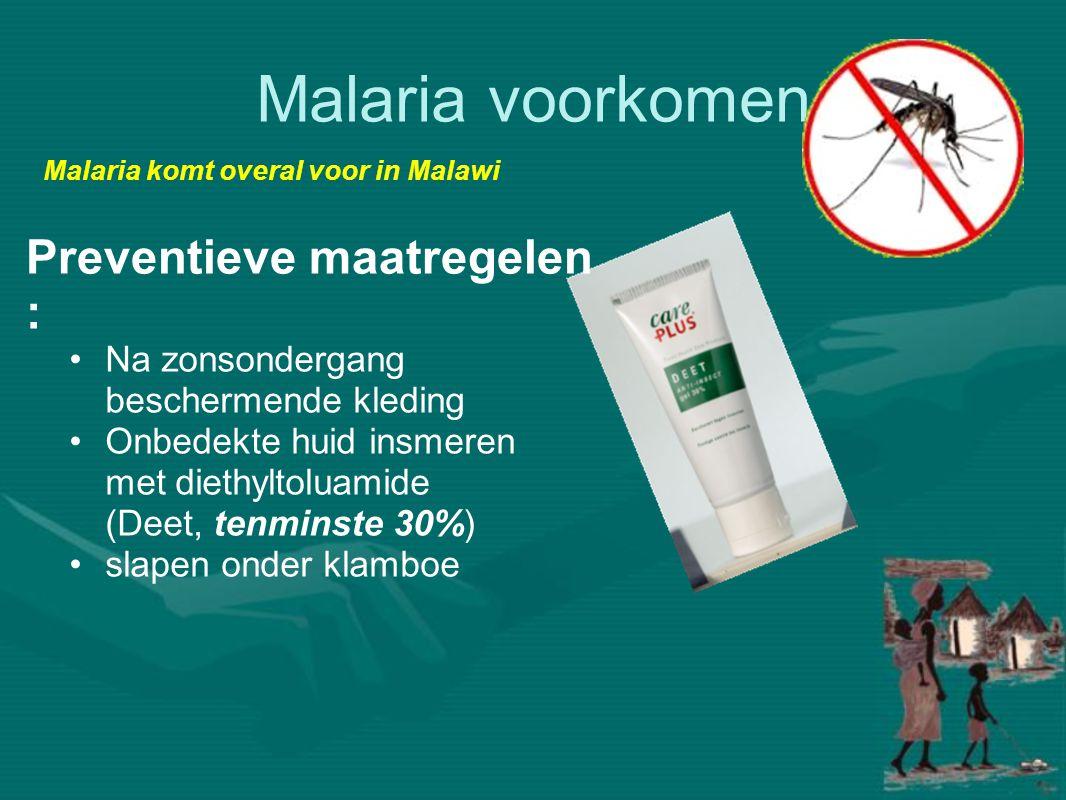 Malaria voorkomen Preventieve maatregelen :