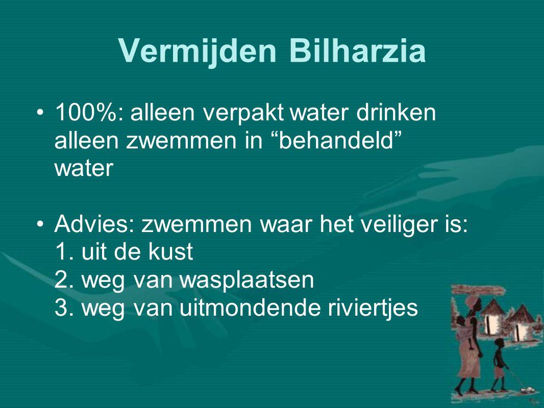 Vermijden Bilharzia 100%: alleen verpakt water drinken alleen zwemmen in behandeld water.
