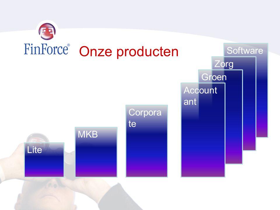 Onze producten Software Zorg Groen Accountant Corporate MKB Lite