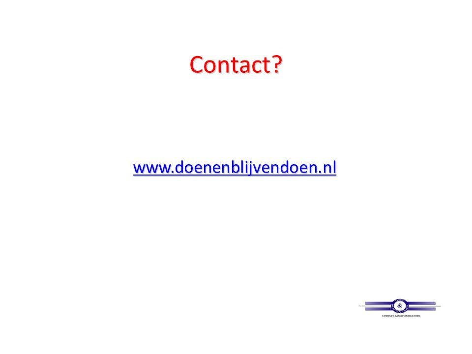 Contact www.doenenblijvendoen.nl