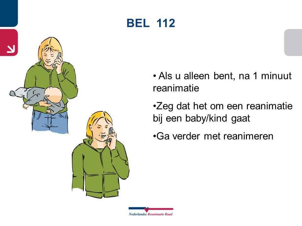 BEL 112 Als u alleen bent, na 1 minuut reanimatie