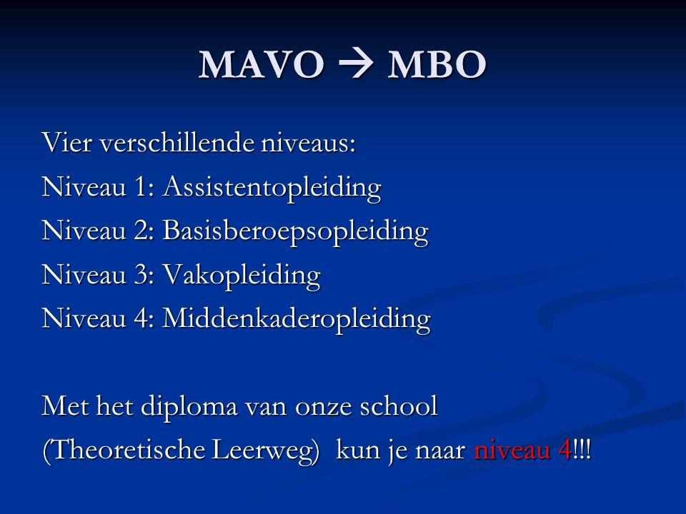 MAVO  MBO Vier verschillende niveaus: Niveau 1: Assistentopleiding