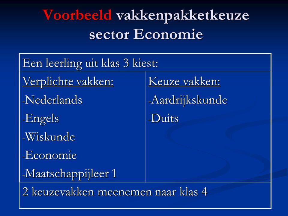 Voorbeeld vakkenpakketkeuze sector Economie