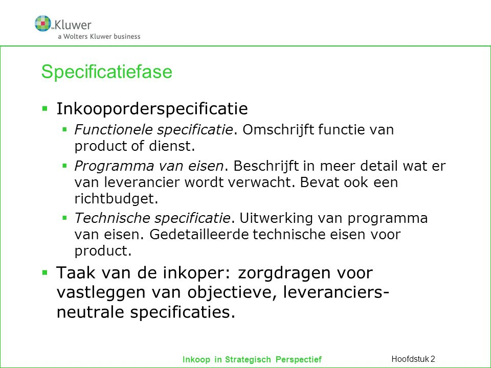 Specificatiefase Inkooporderspecificatie