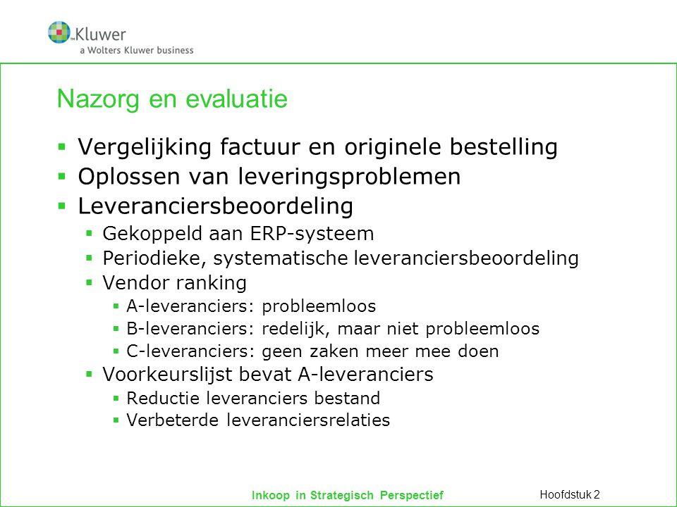 Nazorg en evaluatie Vergelijking factuur en originele bestelling