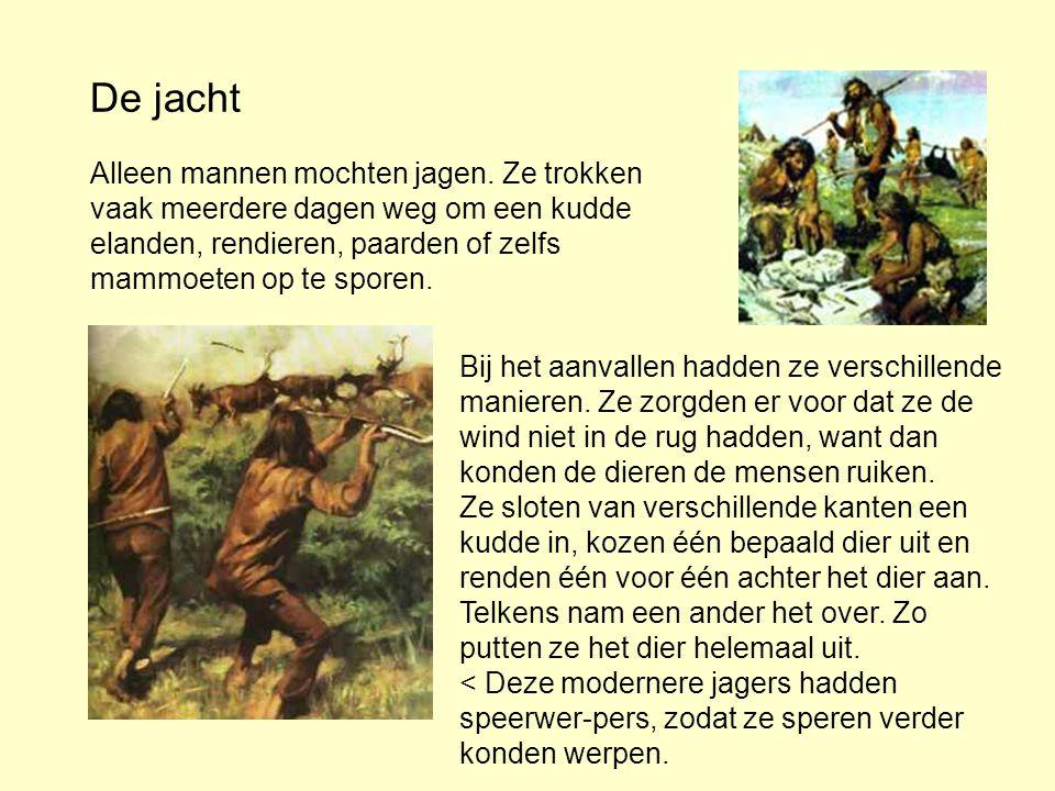 De jacht Alleen mannen mochten jagen. Ze trokken vaak meerdere dagen weg om een kudde elanden, rendieren, paarden of zelfs mammoeten op te sporen.
