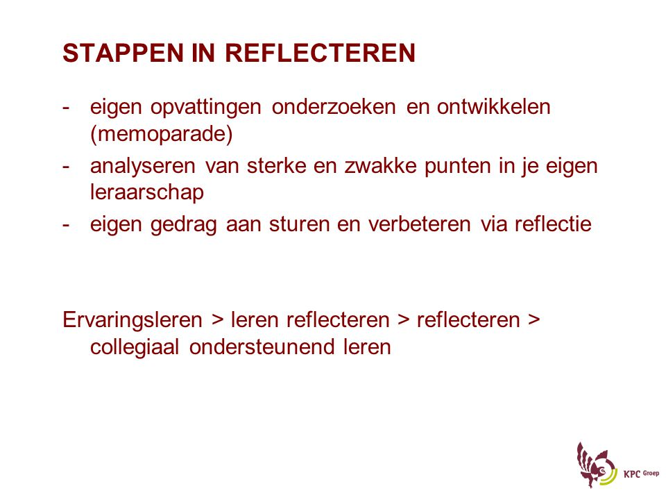 STAPPEN IN REFLECTEREN