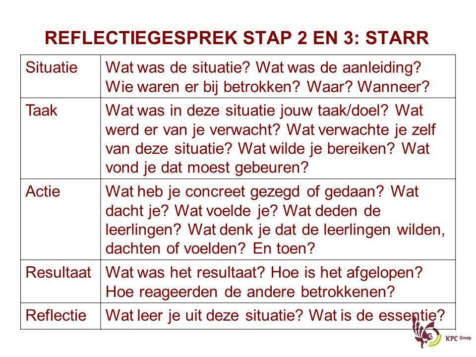 REFLECTIEGESPREK STAP 2 EN 3: STARR