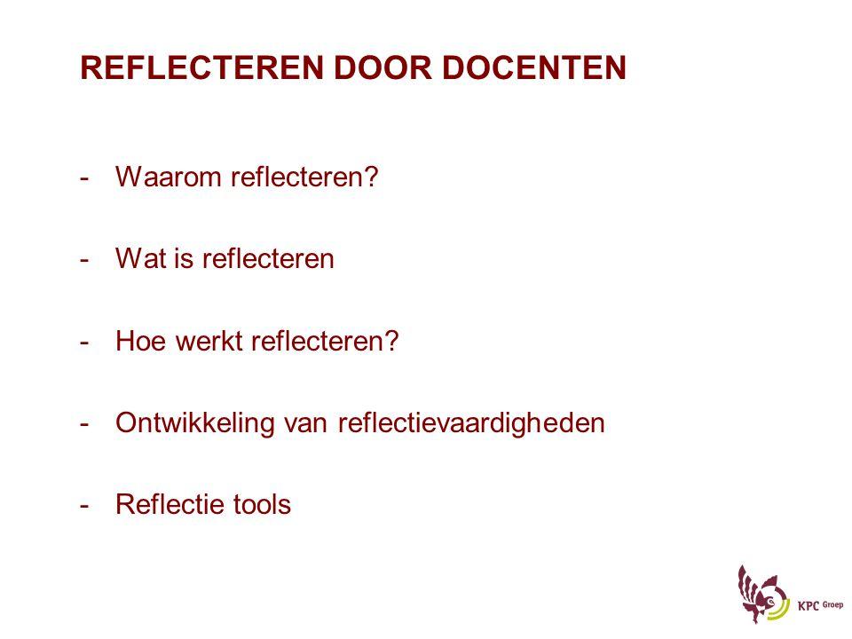 REFLECTEREN DOOR DOCENTEN