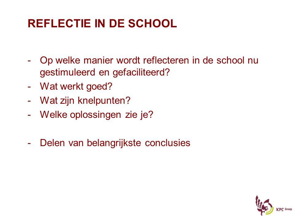 REFLECTIE IN DE SCHOOL Op welke manier wordt reflecteren in de school nu gestimuleerd en gefaciliteerd