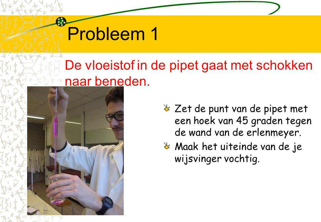 Probleem 1 De vloeistof in de pipet gaat met schokken naar beneden.