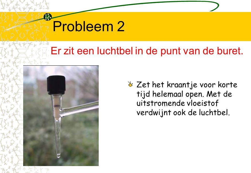 Probleem 2 Er zit een luchtbel in de punt van de buret.