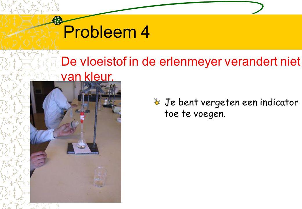 Probleem 4 De vloeistof in de erlenmeyer verandert niet van kleur.