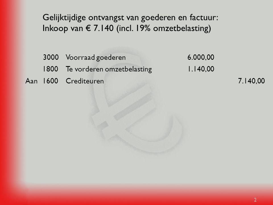 Gelijktijdige ontvangst van goederen en factuur: Inkoop van € 7