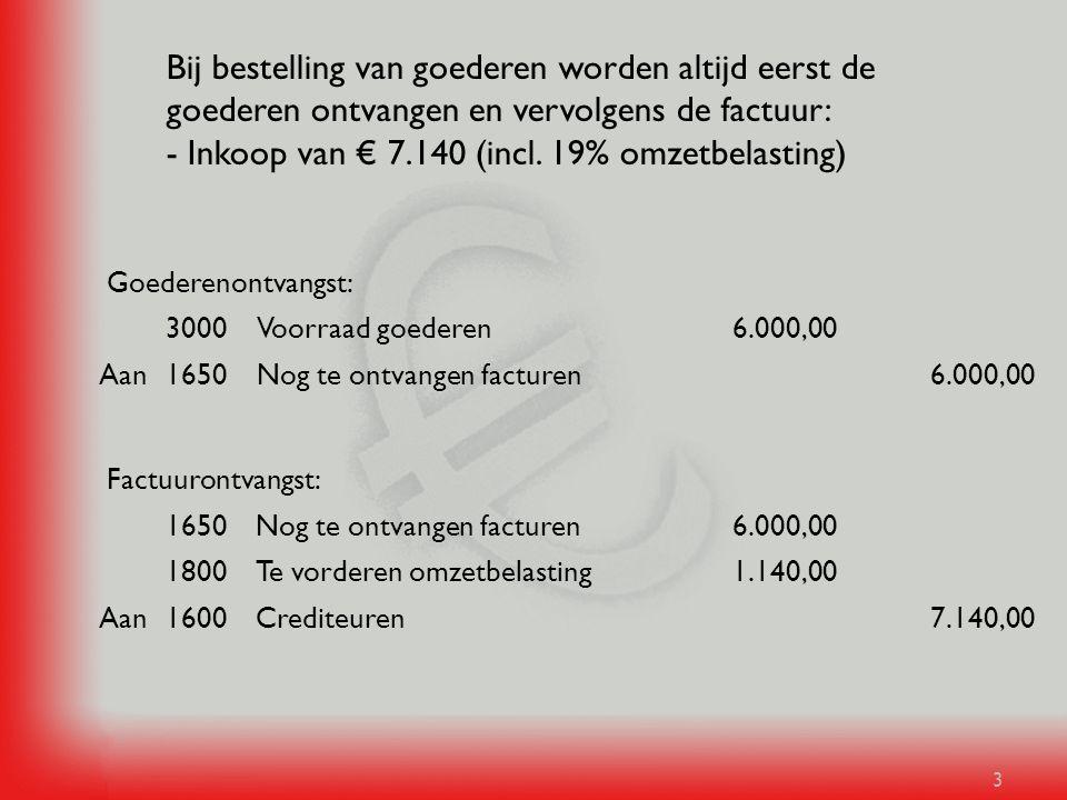 Bij bestelling van goederen worden altijd eerst de goederen ontvangen en vervolgens de factuur: - Inkoop van € 7.140 (incl. 19% omzetbelasting)