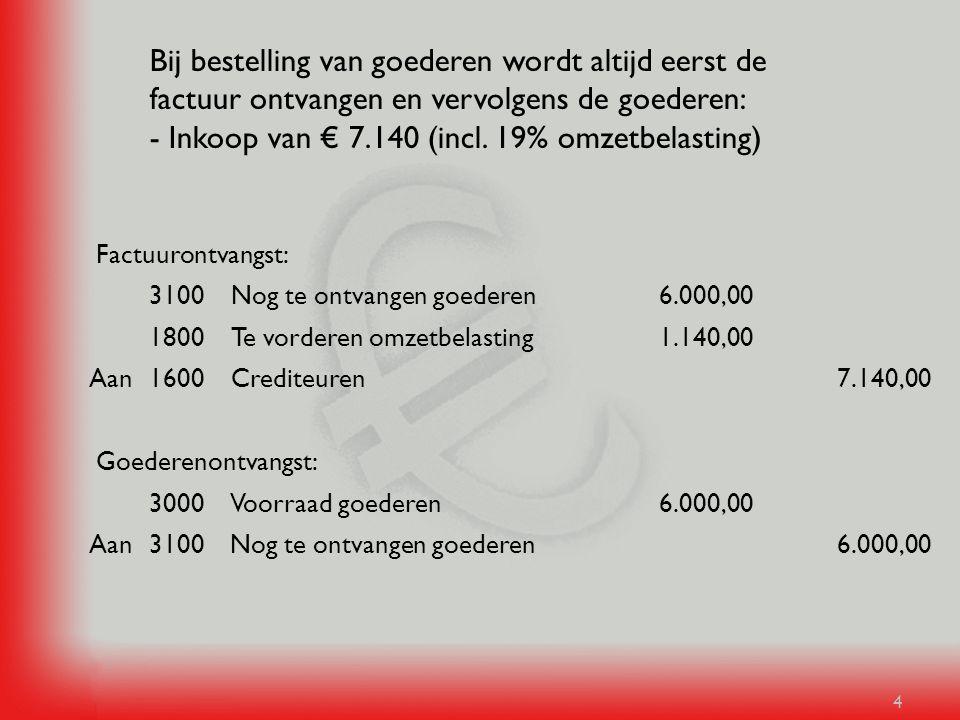 Bij bestelling van goederen wordt altijd eerst de factuur ontvangen en vervolgens de goederen: - Inkoop van € 7.140 (incl. 19% omzetbelasting)
