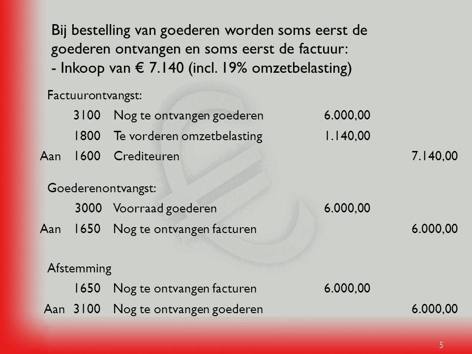 Bij bestelling van goederen worden soms eerst de goederen ontvangen en soms eerst de factuur: - Inkoop van € 7.140 (incl. 19% omzetbelasting)