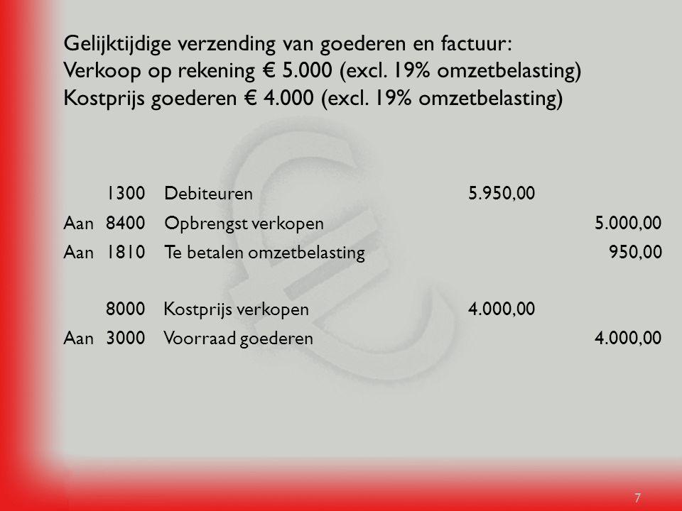Gelijktijdige verzending van goederen en factuur: Verkoop op rekening € 5.000 (excl. 19% omzetbelasting) Kostprijs goederen € 4.000 (excl. 19% omzetbelasting)