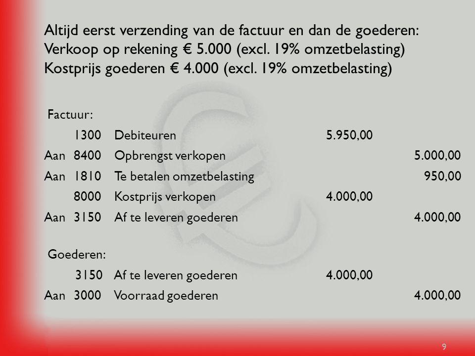Altijd eerst verzending van de factuur en dan de goederen: Verkoop op rekening € 5.000 (excl. 19% omzetbelasting) Kostprijs goederen € 4.000 (excl. 19% omzetbelasting)