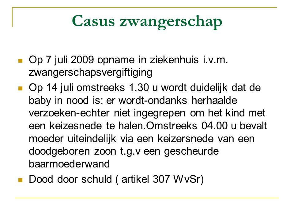 Casus zwangerschap Op 7 juli 2009 opname in ziekenhuis i.v.m. zwangerschapsvergiftiging.