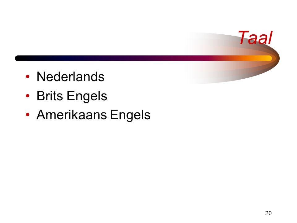 Taal Nederlands Brits Engels Amerikaans Engels