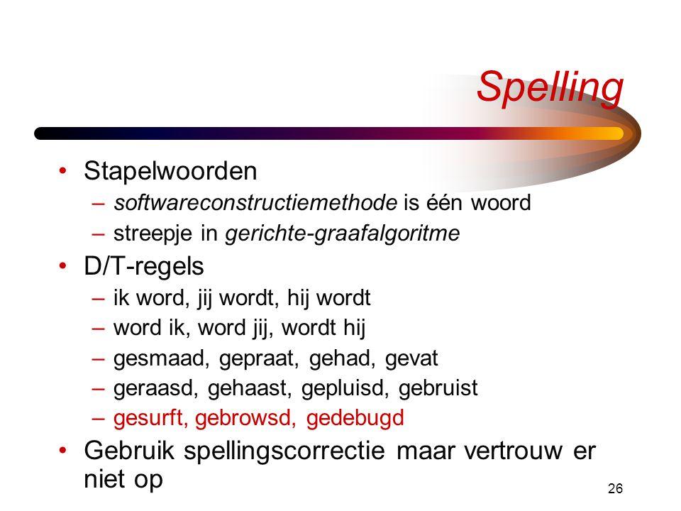 Spelling Stapelwoorden D/T-regels